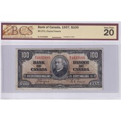 1937 $100 BC-27c, Bank of Canada, Coyne-Towers, Changeover, S/N: B/J4435880, BCS Certified VF-20 (mi