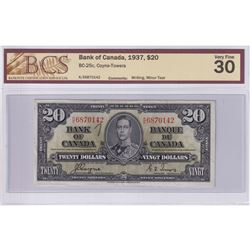 1937 $20 BC-25c, Bank of Canada, Coyne-Towers, S/N: K/E6870142, BCS Certified VF-30 (Writing, Minor