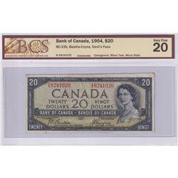 1954 $20 BC-33b, Bank of Canada, Beattie-Coyne, Devil's Face, Changeover, S/N: B/E8241020, BCS Certi