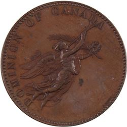 1876 Dominion of Canada Exhibition Medal (Unsigned) Bronze Medal by E.P. Tasset. 41mm diameter, weig