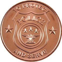 *20x 1oz .999 Fine Copper Rounds in Tube - 10x Fire Department & 10x Police. 20pcs (TAX Exempt)