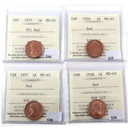 1955 SF, 1956, 1957, & 1958 Canada 1-cent ICCS Certified MS-65. 4pcs