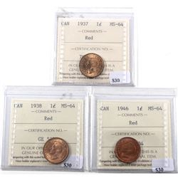 1937, 1938 & 1946 Canada 1-cent ICCS Certified MS-64 RED. 3pcs