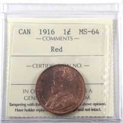 1-cent 1916 ICCS Certified MS-64 RED! Nice Cherry Red coin with consistent tones througout.
