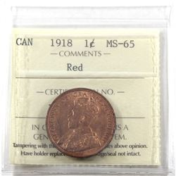 1-cent 1918 ICCS Certified MS-65 RED