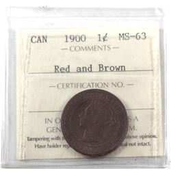 1-cent 1900 ICCS Certified MS-63 Red & Brown. Deep Cherry tones, with crisp details.