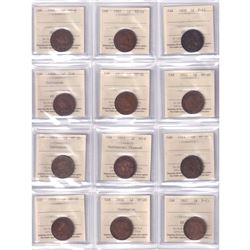 Group Lot 34x Canada ICCS Certified Large 1-cent 1859-1917 *Great Starter Collection Lot!*