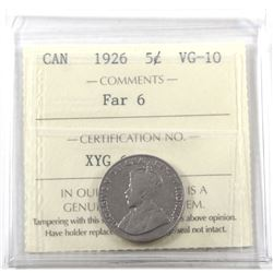 5-cent 1926 Far 6 ICCS Certified VG-10. *Key Date*