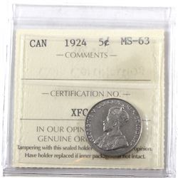 5-cent 1924 ICCS Certified MS-63! Nice Brilliant coin.