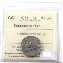5-cent 1951 Commemorative ICCS Certified MS-65!