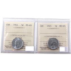 Group Lot: 1944 & 1945 Steel Victory 5-cents both ICCS Certified MS-65!
