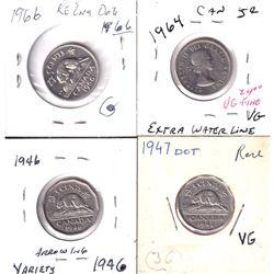 Group Lot 4x Canada 5-cents Varieties. Lot includes 1946 Arrow head, 1947 Dot, 1964 EWL, & 1966 Re-e