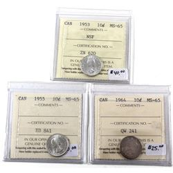 1953 NSF, 1955 & 1964 Canada Silver 10-cents ICCS Certified MS-65. 3pcs