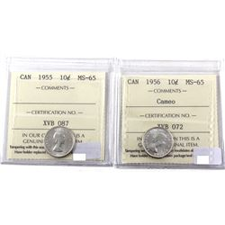 1955 & 1956 Cameo Silver 10-cents ICCS Certified MS-65. 2pcs
