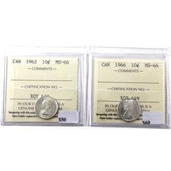 1962 & 1966 Canada Silver 10-cents ICCS Certified MS-66. 2pcs