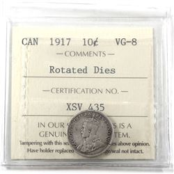 Error 10-cents 1917 Rotated Dies 315 degrees, ICCS Certified VG-8! *Rare*