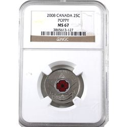 25-cents 2008 Poppy NGC Certified MS-67!