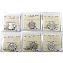 1937, 1938, 1939, 1940, 1949, & 1952 LR Canada 25-cents ICCS Certified MS-63/64. 6pcs