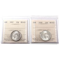25-cents 1937 & 1939 ICCS Certified MS-63! Both coins bright lustrous coins! 2pcs