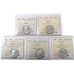 Group Lot 5x Silver Mint-State Elizabeth II ICCS Certified 25-cents. Lot Includes: 1961, 1962, 1963,