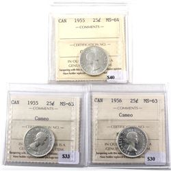 Group Lot 3x Silver 25-cents all ICCS Certified. Lot includes: 1955 MS-63 Cameo, 1955 MS-64, & 1956
