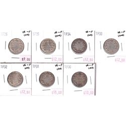 Group Lot 6x Silver George 5th 25-cents 1930-1936 all VG-F condition. 6pcs
