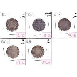 Group Lot 5x Victorian Silver 25-cents. Lot includes: 1870, 1874H, 1881H, 1883H, 1888. 5pcs