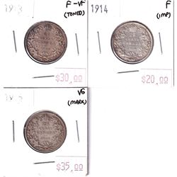 1913, 1914, & 1915 Canada 25-cents. 3pcs