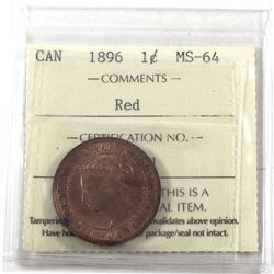 1-cent 1896 ICCS Certified MS-64 RED! Nice burnt orange tone throughout.