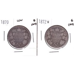 1870 LCW & 1872H Silver Victorian 50-cents. 2pcs