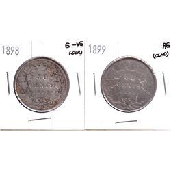 1898 & 1899 Canada Victorian 50-cents. 2pcs