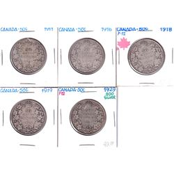 Group Lot 5x Silver George 5th 50-cents. Lot Includes: 1911, 1916, 1918, 1919, & 1920, all in VG gra