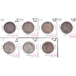 Group Lot 7x Silver 50-cents. Lot includes: 1911, 1918, 1919, 1929, 1937, 1938, 1939. 7pcs