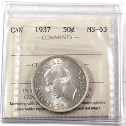 50-cents 1937 ICCS Certified MS-63. Attractive Light toning.