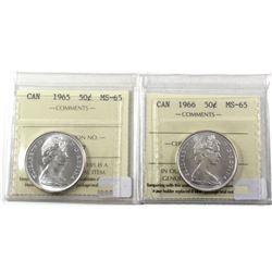 50-cents 1965 & 1966 ICCS Certified MS-65! 2pcs
