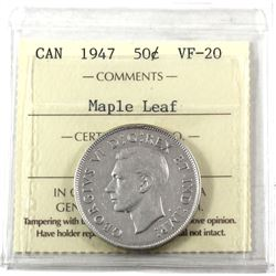 50-cents 1947 Maple Leaf ICCS Certified VF-20 *Key Date*