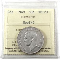 50-cents 1949 Hoof Over 9 Canada ICCS Certified VF-20.