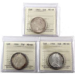 50-cents 1963 & 2x 1966 all ICCS Certified MS-64! 3pcs