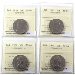 50-cents 1970, 1971, 1972, & 1973 all ICCS Certified MS-64! 4pcs