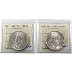 Silver $1 1936 & 1937 ICCS Certified MS-63! Blast White Brilliant coins. 2pcs