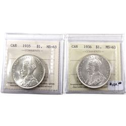Silver $1 1935 & 1936 ICCS Certified MS-63! Nice Brilliant examples of Canada's first 2 King George