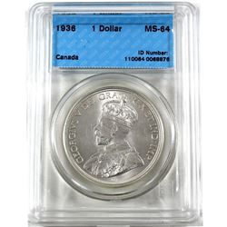 Silver $1 1936 CCCS Certified MS-64 Blast White!