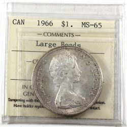 Silver $1 1966 ICCS Certified MS-65. A softly toned coin.