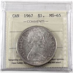 Silver $1 1967 ICCS Certified MS-65. Light tones of Rose and Violet throughout.