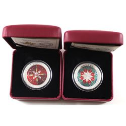 2014 & 2015 Canada $25 Christmas Ornament Fine Silver Coloured Coins (2015 capsule lightly scratched