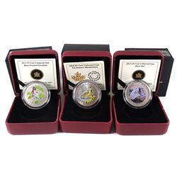 2012-2014 Canada 25-cents Birds of Canada Coin Series - 2012 Rose-Breasted Grosbeak, 2013 Barn Owl &
