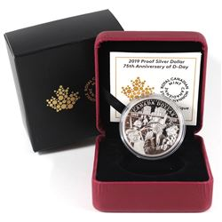2019 Canada 75th Anniversary of D-Day Proof Silver Dollar (sleeve lightly bent). TAX Exempt.