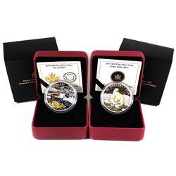 2014 Canada $20 The Caribou & 2014 $20 Iconic Polar Bear Fine Silver Coloured Coins. 2pcs (TAX Exemp
