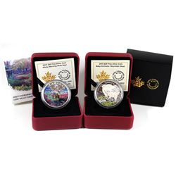 2015 Canada $20 Mountain Goat & 2015 $20 Misty Morning Mule Deer Fine Silver Coins (Goat's outer sle
