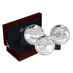 2016 Canada Reflections of Wildlife 3-coin Set in Deluxe Case (outer sleeve has small tear & 2 of 3